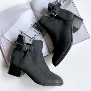 Aldo Ultra Leather Side Buckle Moto Ankle Booties